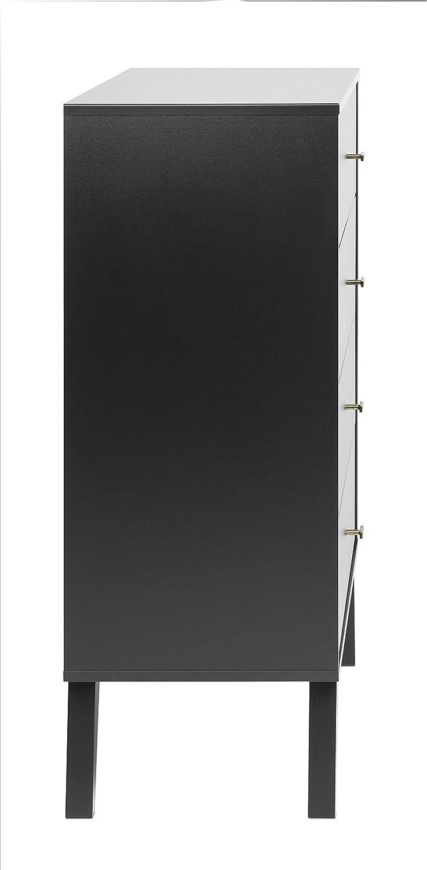 Black Prepac BDBR-1404-1 Milo Mid Century Modern 4-Drawer Chest