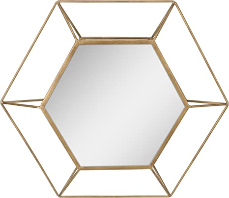 Amazon Com Stonebriar Decorative Antique Gold 24 Hexagon Metal Frame Hanging Wall Mirror With Mounting Brackets Modern Geometric Decor For The Living Room Bathroom Bedroom And Entryway Home Kitchen