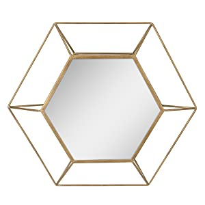 "Stonebriar Decorative Antique Gold 24"" Hexagon Metal Frame Hanging Wall Mirror with Mounting Brackets, Modern Geometric Decor for the Living Room, Bathroom, Bedroom, and Entryway"