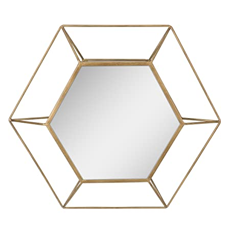 Stonebriar Decorative Antique Gold 24 Hexagon Metal Frame Hanging Wall Mirror with Mounting Brackets, Modern Geometric Decor for the Living Room, Bathroom, Bedroom, and Entryway