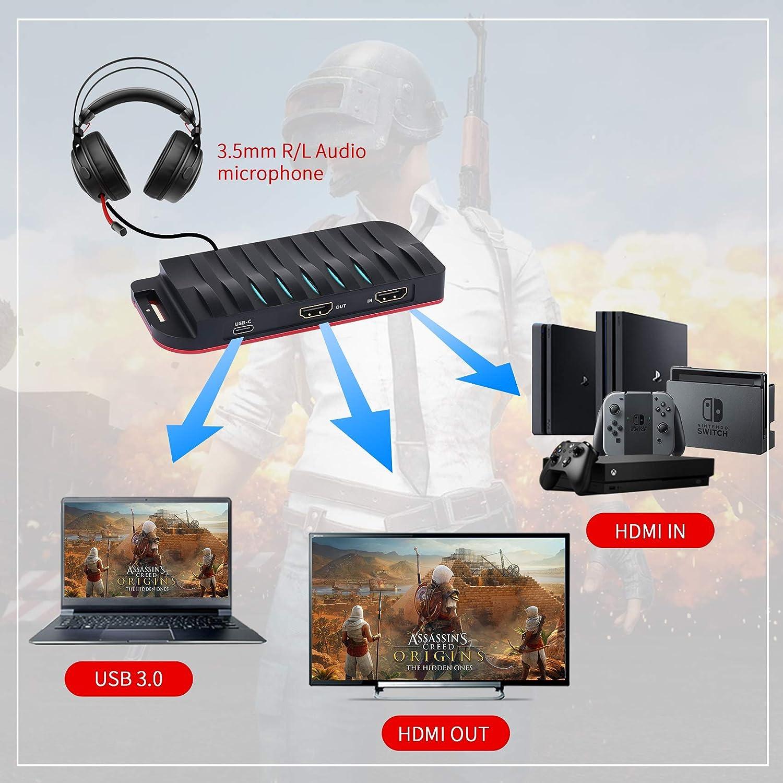 ShuOne Tarjeta de Captura USB-C, 4K 30FPS, HD 1080P 60FPS, capturadora de Video del - Compatible con Windows, Linux, macOS, OBS Streaming para PS3 PS4 ...