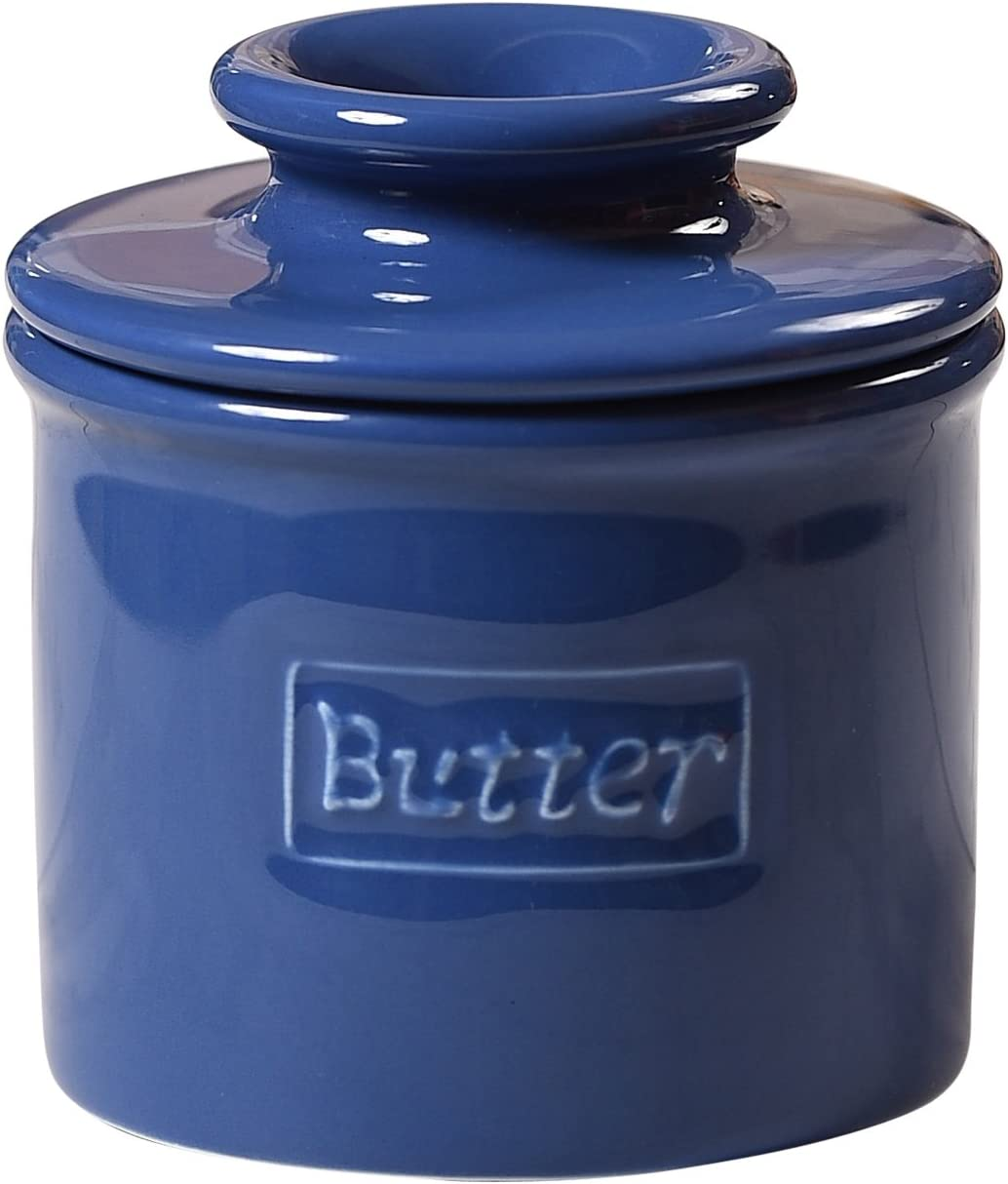 Butter Bell - The Original Butter Bell Crock by L. Tremain, French Ceramic Butter Dish, Café Retro Collection, Royal Blue, Glossy Finish