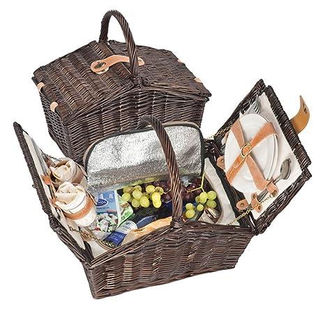 Cesta de picnic Bolsa nevera - 2 persona lujo obstaculizar establece con 7 piezas cubertería