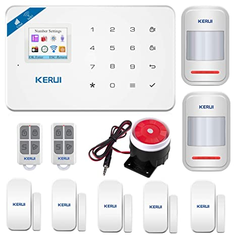 KERUI W18 GSM WIFI Sistema de Alarma Seguridad para Hogar por CALL/SMS/APP, Kits Alarma Antirrobo Inalámbrico DIY con Detector/Sensor de Movimiento de ...