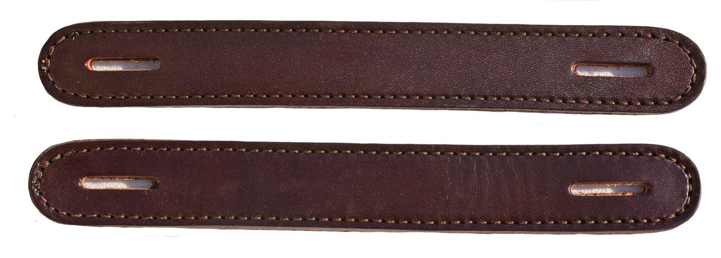 Pair of Havana Brown Leather Slotted Steamer Trunk Handles