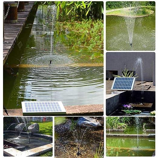 OriFiil Bomba de Agua Solar,5W Pump Solar de la Fuente para Estanque, Pozo, Jardín, Piscina,Flujo máximo 380L / h: Amazon.es: Jardín