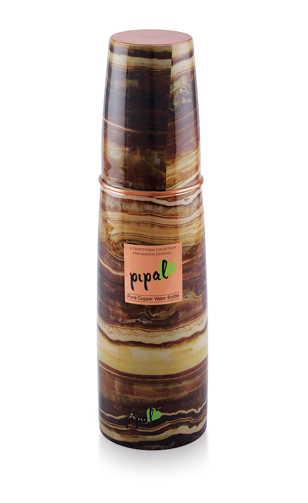 Pipal O2 Pure Copper Water Bottle, Leak Proof and Joint-less, Perfect for Sports, Fitness, Yoga with Ayurvedic Health Benefits (Wood)