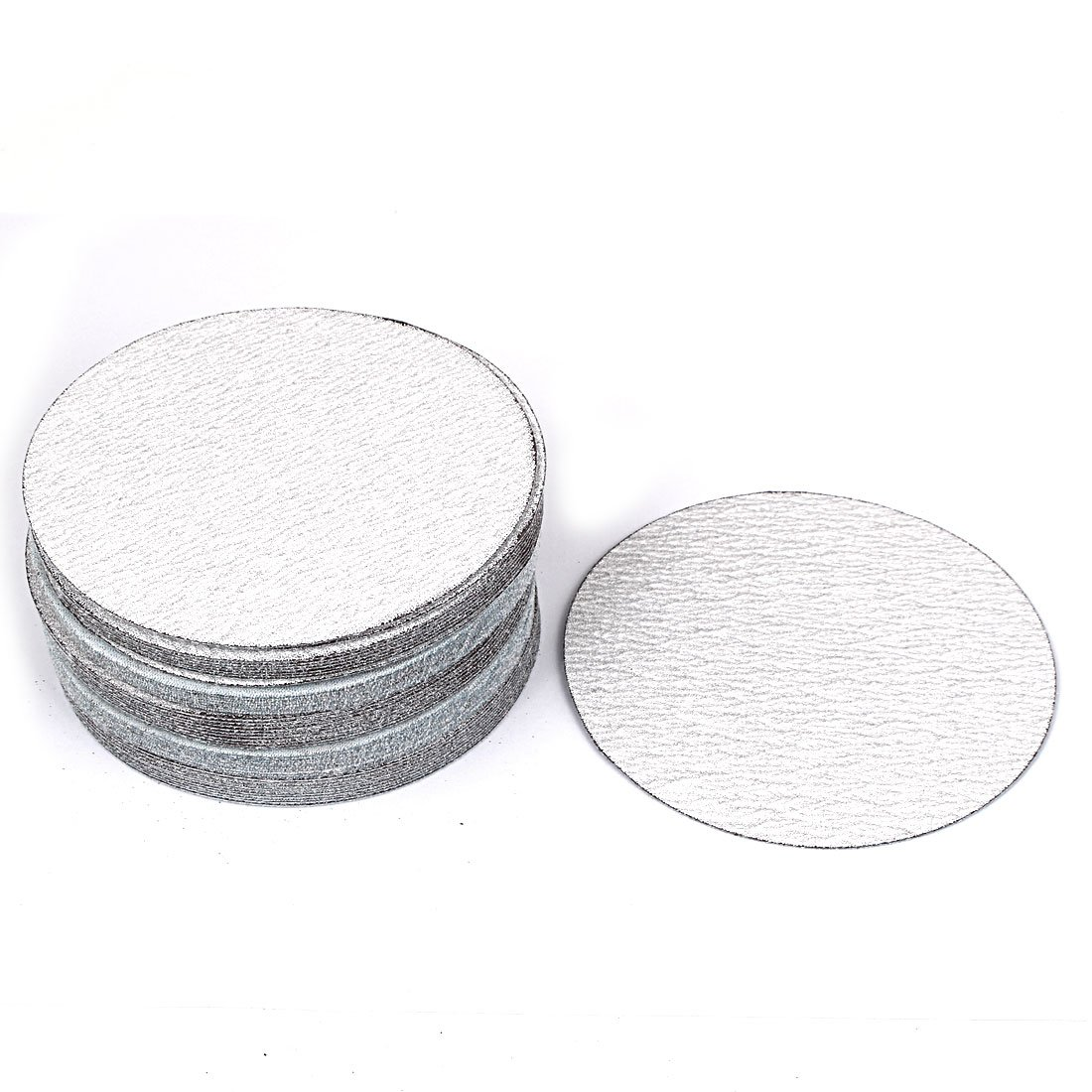 uxcell12.5cm Dia 180 Grit White Abrasive Polishing Hook and Loop Sanding Disc 50 Pcs