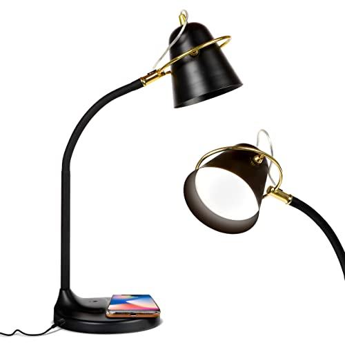 Brightech Zoey – Super Bright Stylish Desk Lamp with Wireless Charging Pad and USB Port- LED Bedside Light with Memory Function -Dimmable Light Color Adjustable – for Office – Black