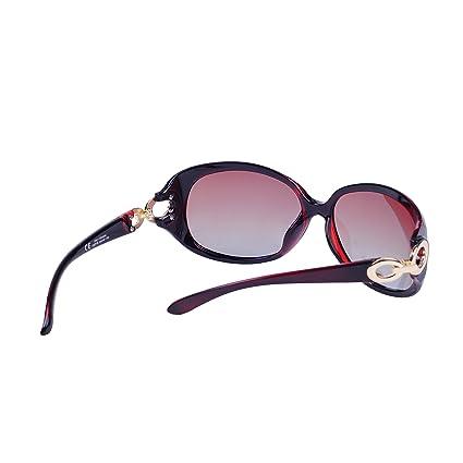 Polarisées Lunettes de soleil Femme avec Étui QIXU Marron Lunettes Ovales Vintage Verres 100% UV400 Protection 4U5DJ4xZN6