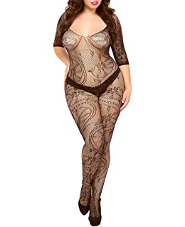 98e4e2e6c69 Curbigals Sexy Women Lingerie Plus Size Crotchless Bodystocking Long  Sleeves Bodysuit