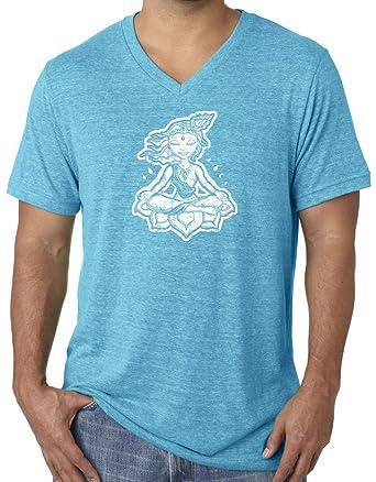 17d58faec8 Yoga Clothing For You Mens Namaste Lotus V-Neck Tee, Small Aqua Triblend