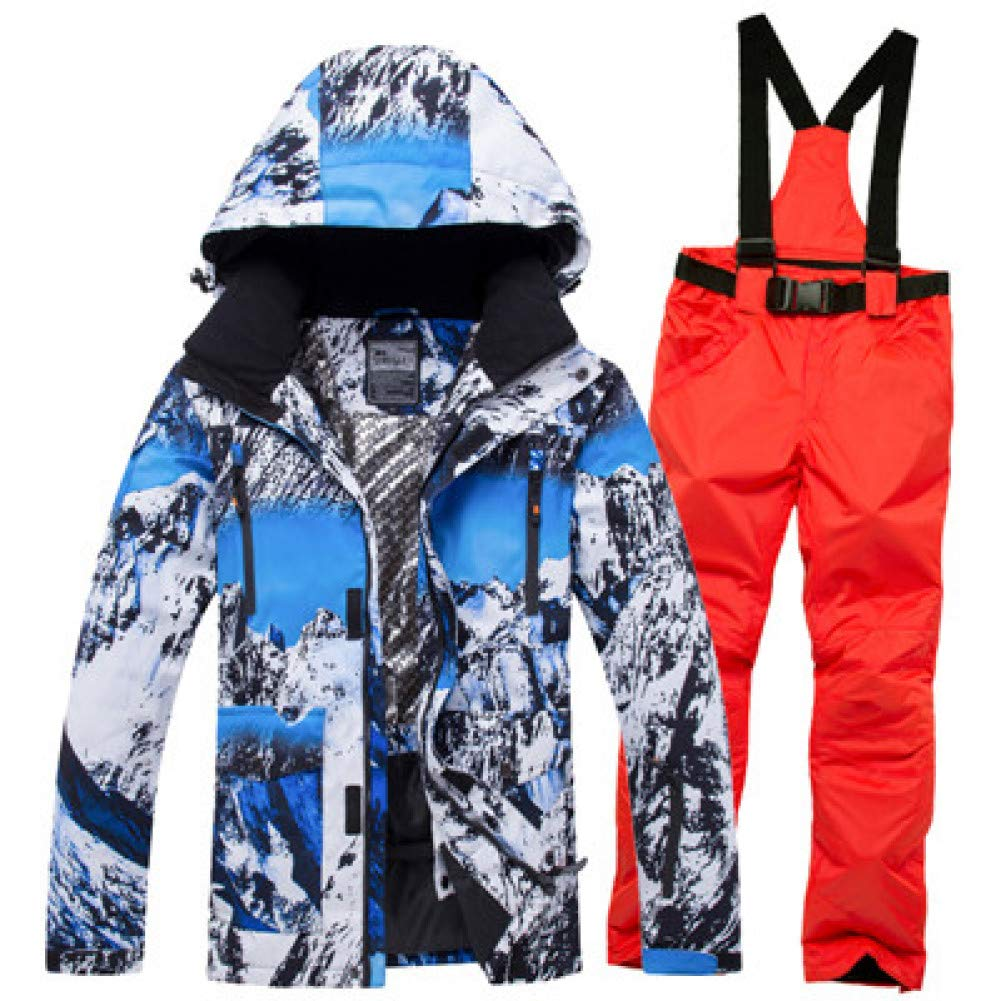 KUNHAN Abbigliamento da sci per uomo Giacca da Sci Impermeabile da Uomo  Impermeabile Sci Antivento Tuta da Sci Invernale da Snowboard Caldo ... e57400b2f2b