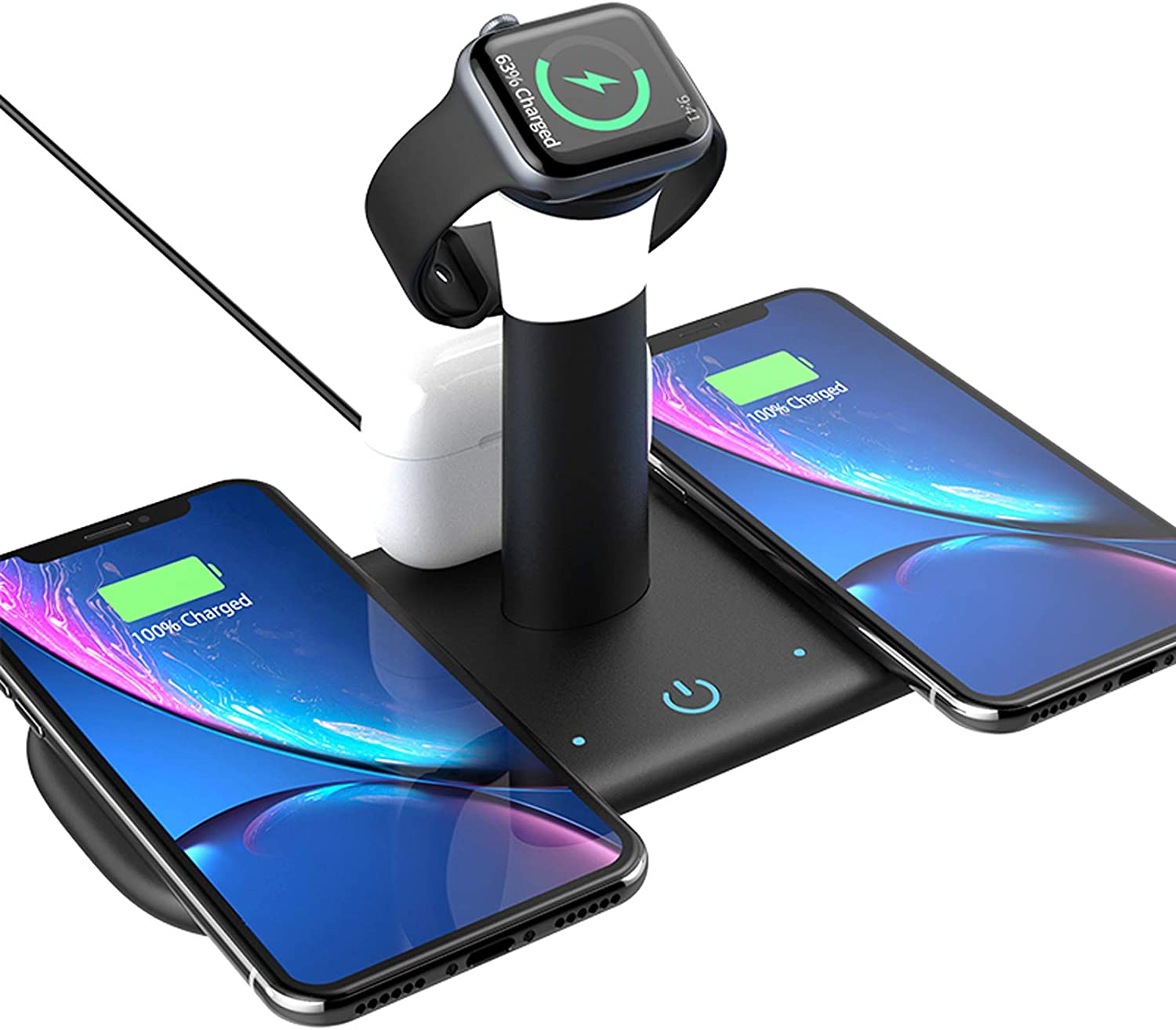 YOVDA Fast Charging Station Dock, 15w Wireless Charger Stand with Night Light, 5-in-1 Qi-Certified Wireless Charger for iPhone 11 Pro/Xs/Xr/8, iWatch 6/Se/5/4/3 and Airpods, Samsung S20