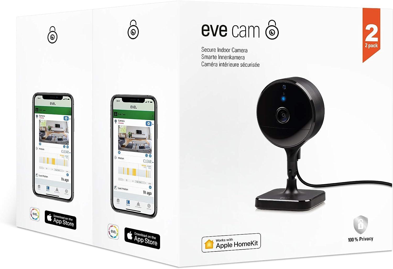 Eve Cam, Lot de 2 - Caméra intérieure sécurisée, confidentialité absolue, Apple...