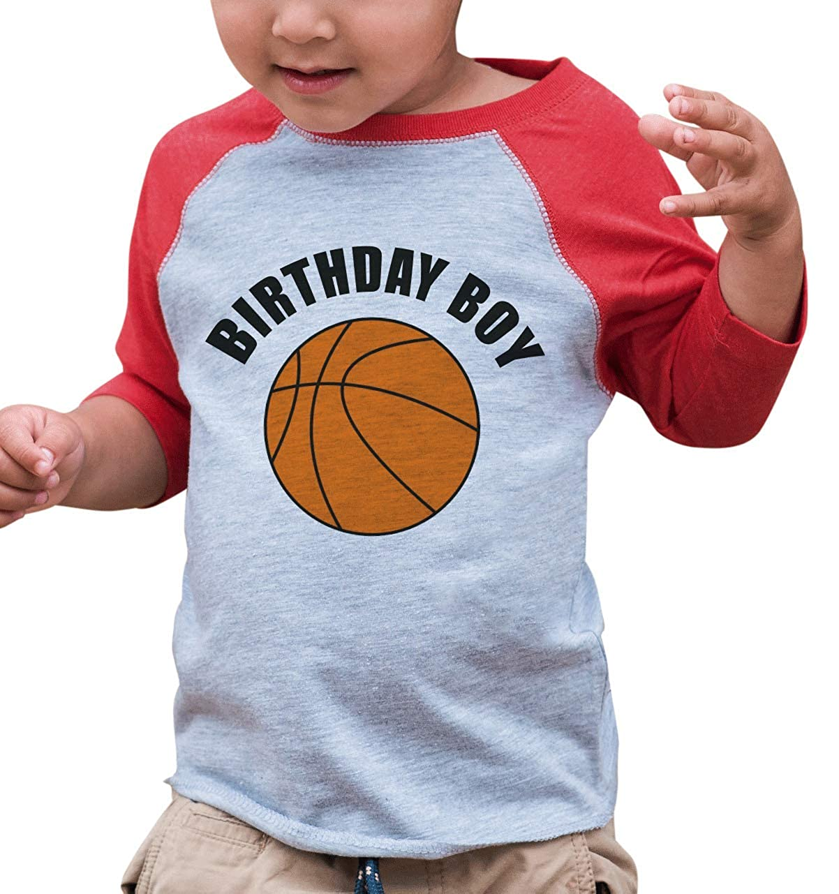 7 ate 9 Apparel Boys Birthday Boy Basketball Red Raglan Tee