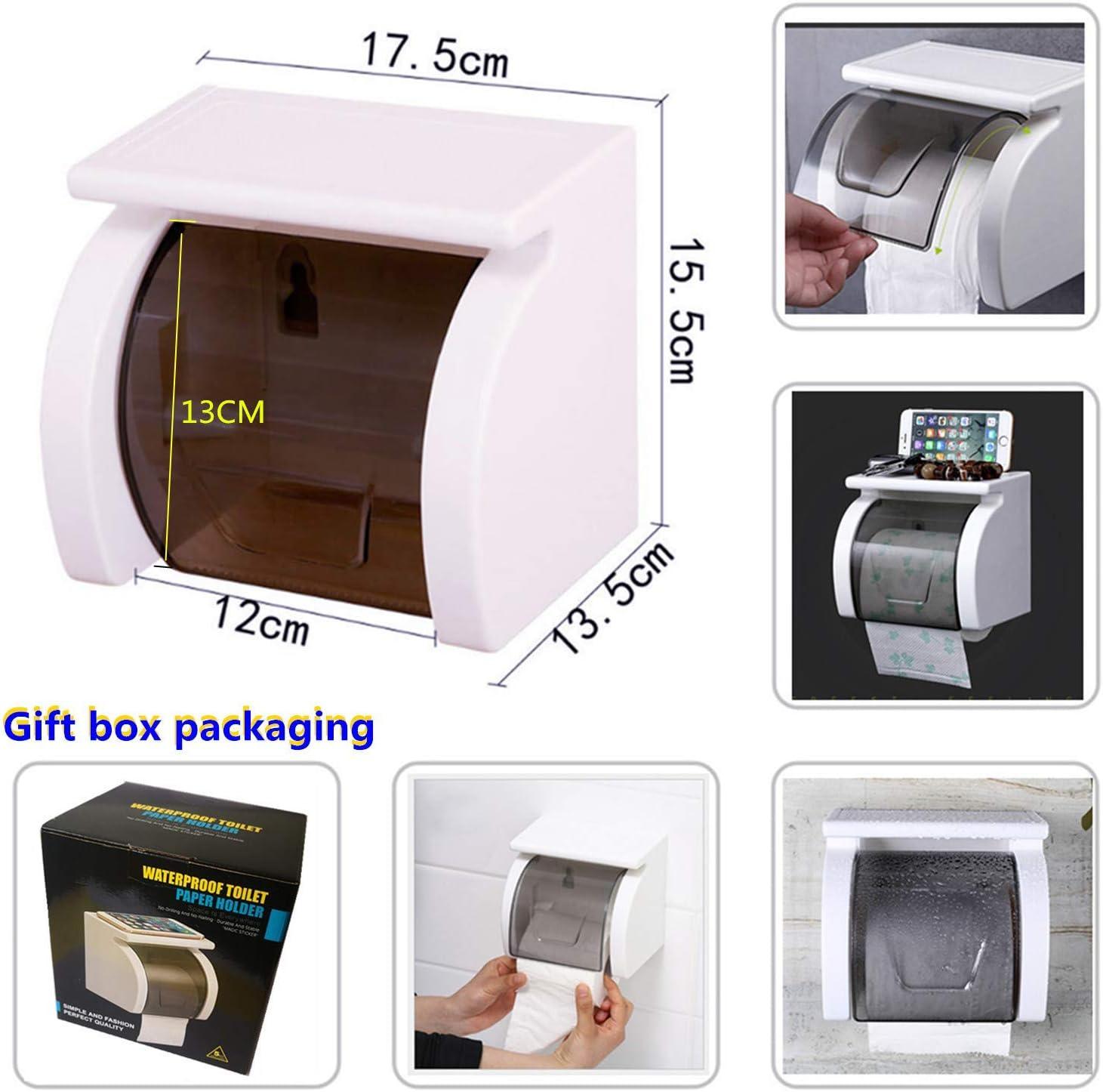 Meiyijia Toilettenpapierhalter Ohne Bohren mit Schublade und Sichtbares Fenster Badezimmer Multifunktions Aufbewahrungsbox Blau