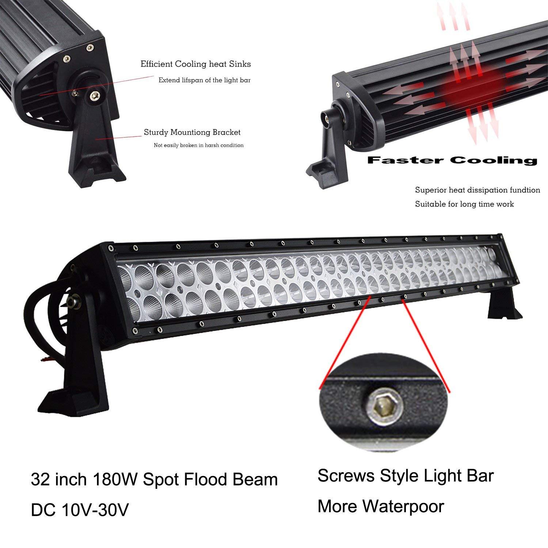 52 Inch 300W Curved LED Light Bar Rigidon Flood Spot Combo Beam Off Road Driving Fog Work Light for SUV Truck ATV 4x4 Car Boat