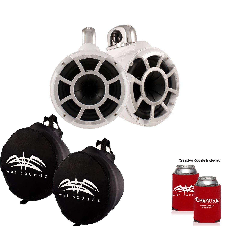 濡れSounds Rev 8 Swivelクランプタワースピーカーwith濡れSounds Suitzスピーカーカバー – ホワイト B074VHBX4C
