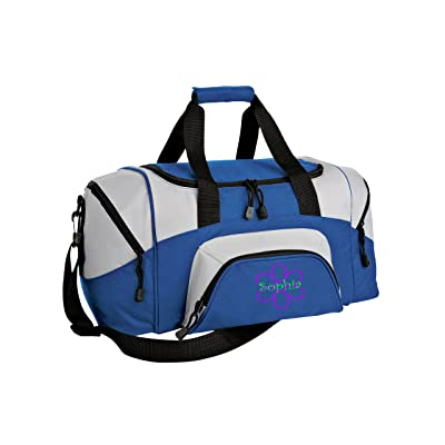 Flower Personalized - Colorblock Sport Small Duffle Bag (Royal/Grey)