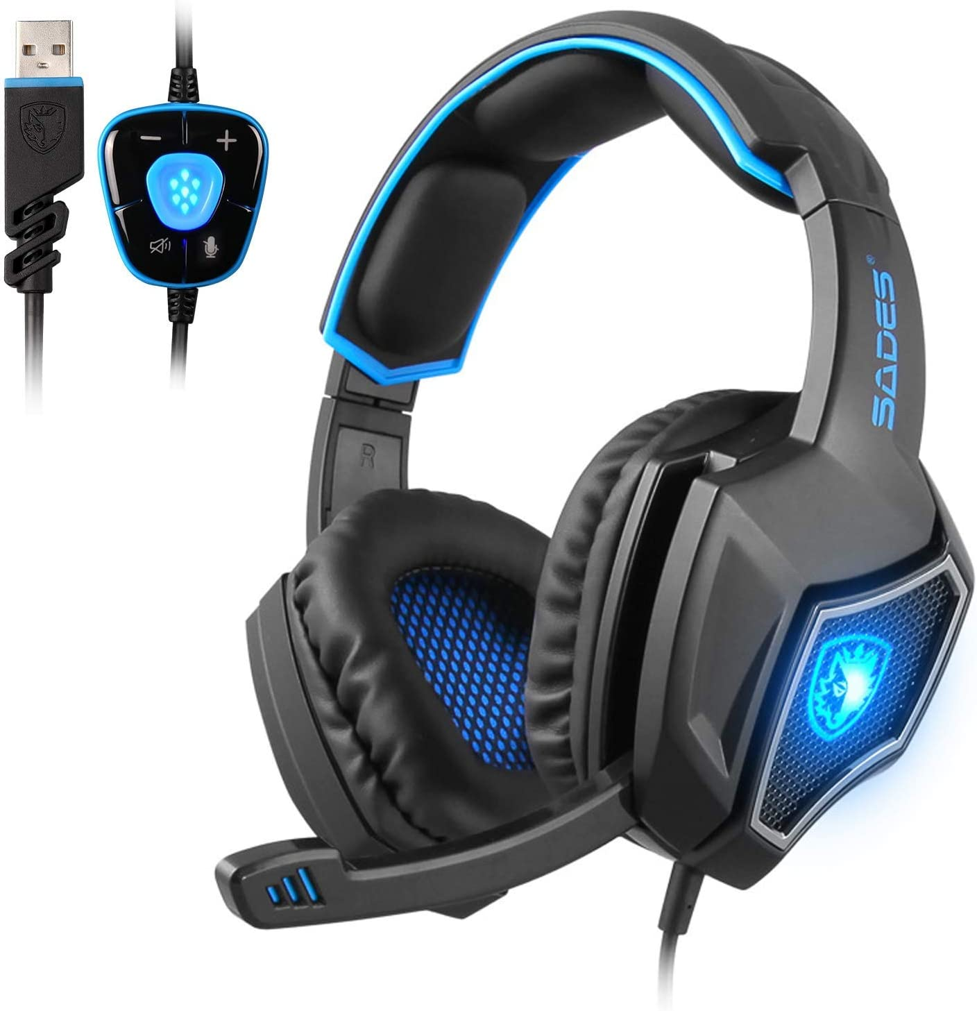 SADES SpiritWolf 7.1 Surround Sound Gaming Headset PC Stereo Gaming Headphones with Microphone Noise Cancelling, LED Light and Volumn Control