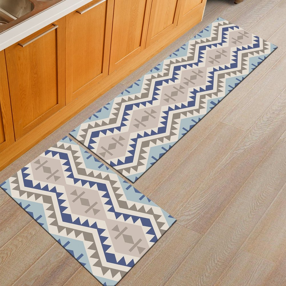1 PCS AiseBeau Comfort Flannel Kitchen Rug Comfort Kitchen Floor Mat Non-Slip Kitchen Mat Super Soft Kitchen Runner Bedside Runner Entrance Runner Door Mat 15.7X23.6 IN WN-Jihe2-lanbo-4060-U