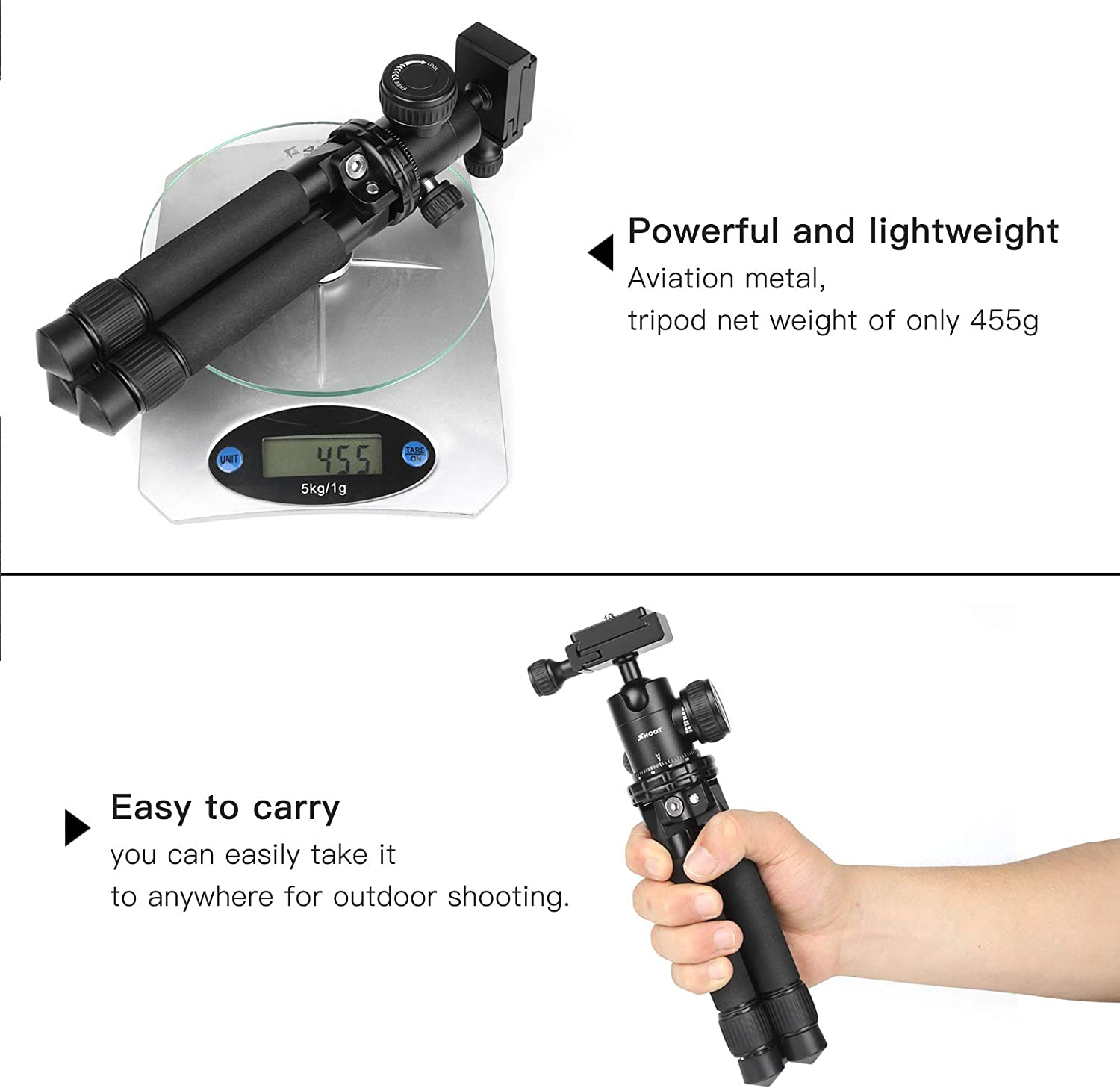 Portable Cellphone Camera Tripod with Bluetooth Remote Great for Selfies//Streaming//Photography Compatible with iPhone and Android Phone Funiee Phone Tripod Stand