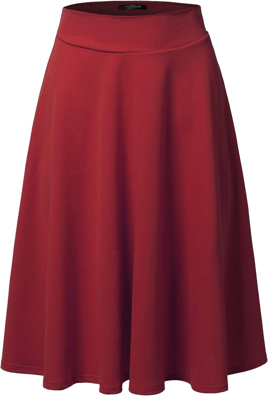SSOULM Women's High Waist Flare A-Line Midi Skirt with Plus Size