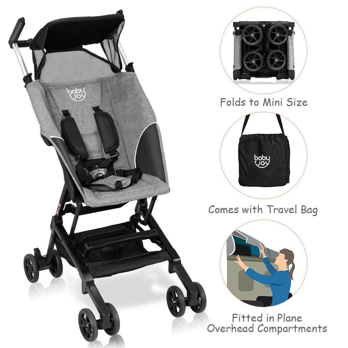 BABY JOY Pocket Stroller, Extra Lightweight Compact Folding Stroller, Aluminum Structure, Five-Point Harness, Easy Handling for Travel, Airplane Compartment, Includes Travel Bag, No Assembly, Gray