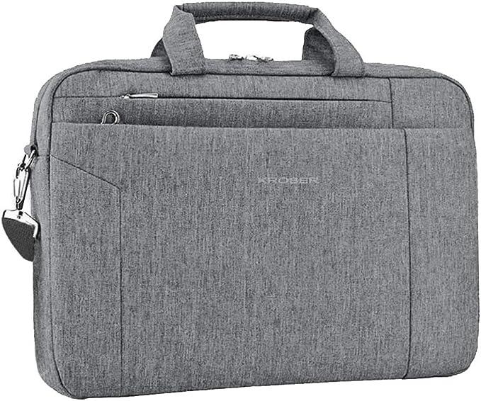 KROSER Laptoptasche Stilvolle Schultertasche Passt bis zu 17,3 Zoll Aktentasche Erweiterbare Wasserdicht Umh/ängetasche mit RFID-Taschen f/ür Gesch/äft//Reisen//Schule//M/änner//Frauen-Grau MEHRWEG