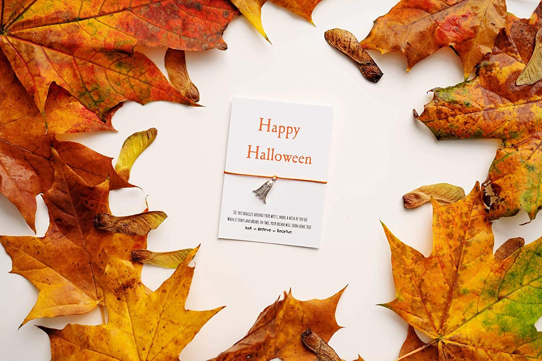 Halloween Wish Bracelet Happy Halloween Boo Bat Card Pumpkin String Bracelet Treat Bag Filler Bat Charm Bracelet