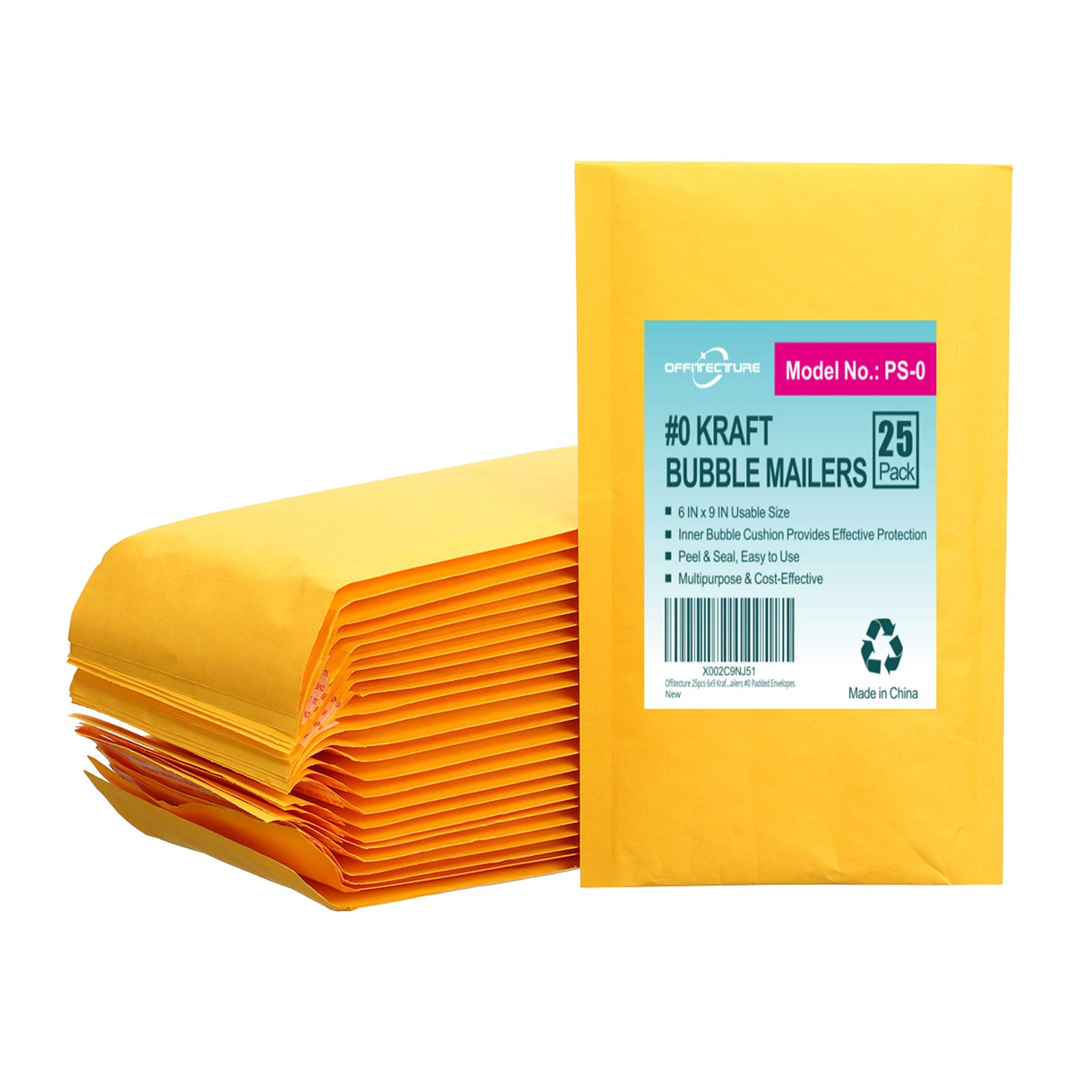 25 Sobres Acolchados Offitecture Amarillos 15x23cm