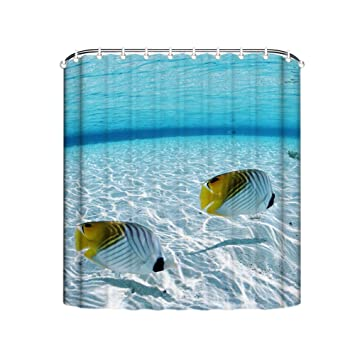 Ocean Collection Sea Life White Fish Under Water World Shower Curtain  Polyester Waterproof Shower Curtain 48