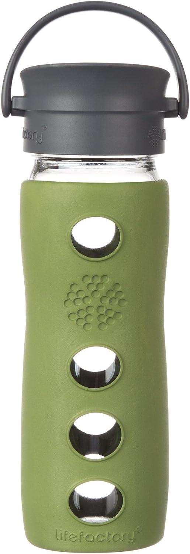 Lifefactory 16-Ounce BPA-Free Glass Coffee and Tea Travel Mug with Café Cap and Insulating Sleeve, Sage