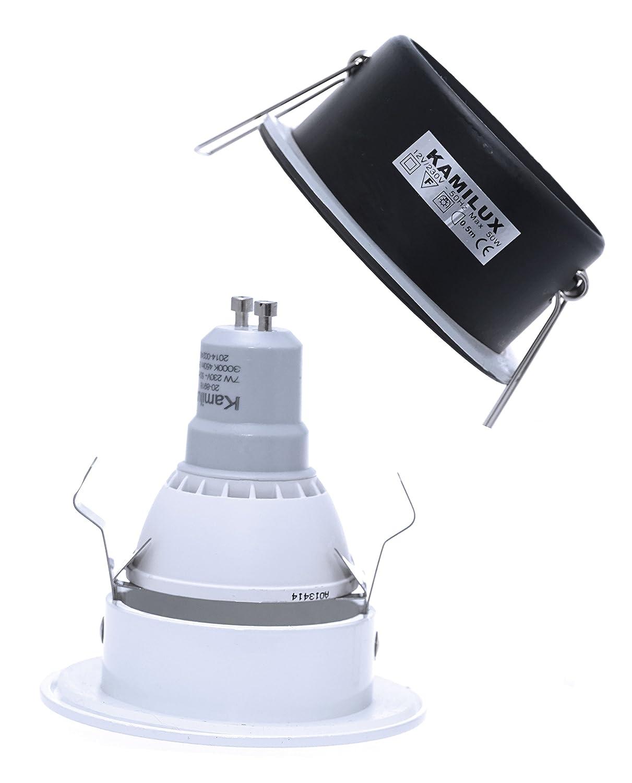 BAD /& DUSCHE Deckenstrahler in edelstahl geb LED 7Watt Aqua IP65 Badezimmer Einbaustrahler DIMMBAR 230V GU10 7W Leuchtmittel = 52W POWER LED warmweiss