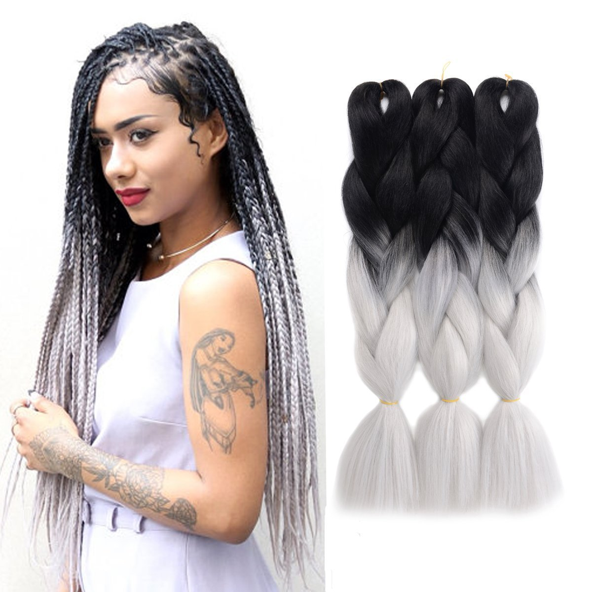 Amazon.com : JIAMEISI Two Tone Ombre Jumbo Braid Hair Extension 5Pcs ...