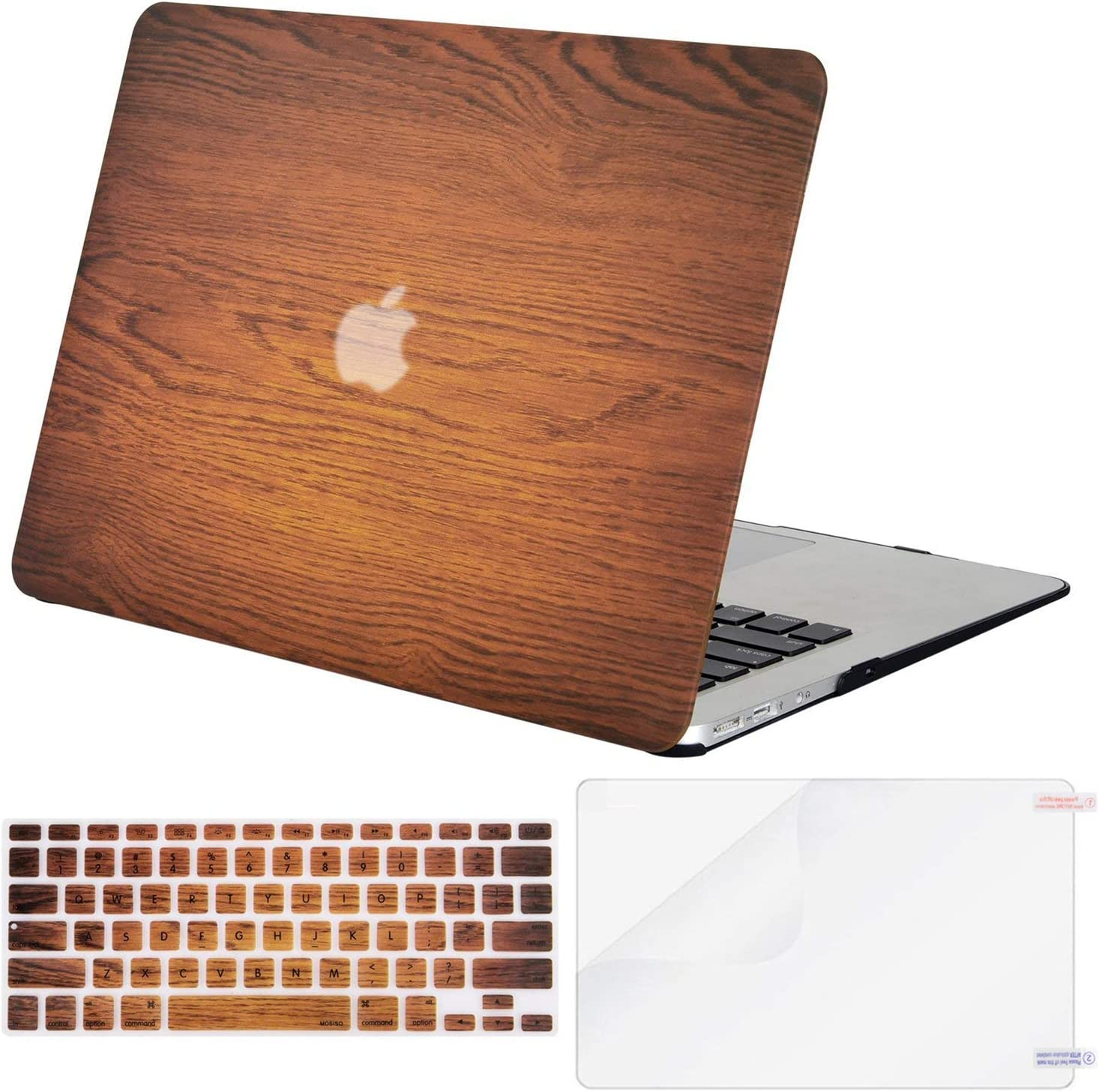 MOSISO MacBook Air 13 inch Case (A1369 & A1466, Older Version 2010-2017 Release), Plastic Pattern Hard Case&Keyboard Cover&Screen Protector Only Compatible with MacBook Air 13, Wood Grain