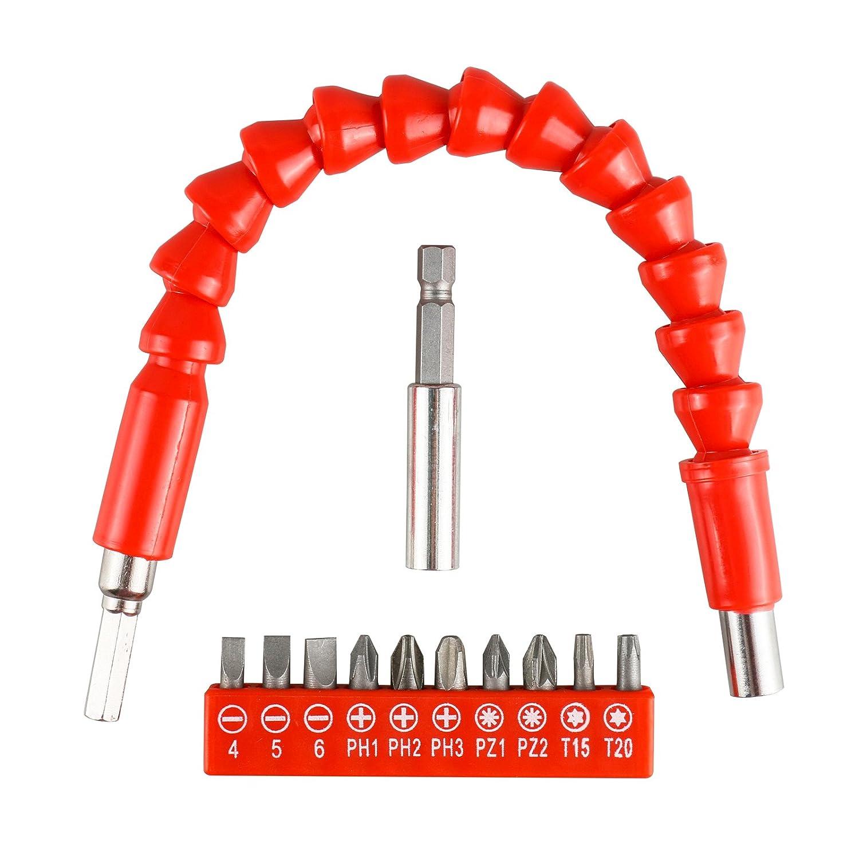 keine Handbohrer enthalten Universal Flexible Extension Soft Schaft mit 1//4  Bohrschrauber Adapter 1//4  Magnetic Extend Bohrer