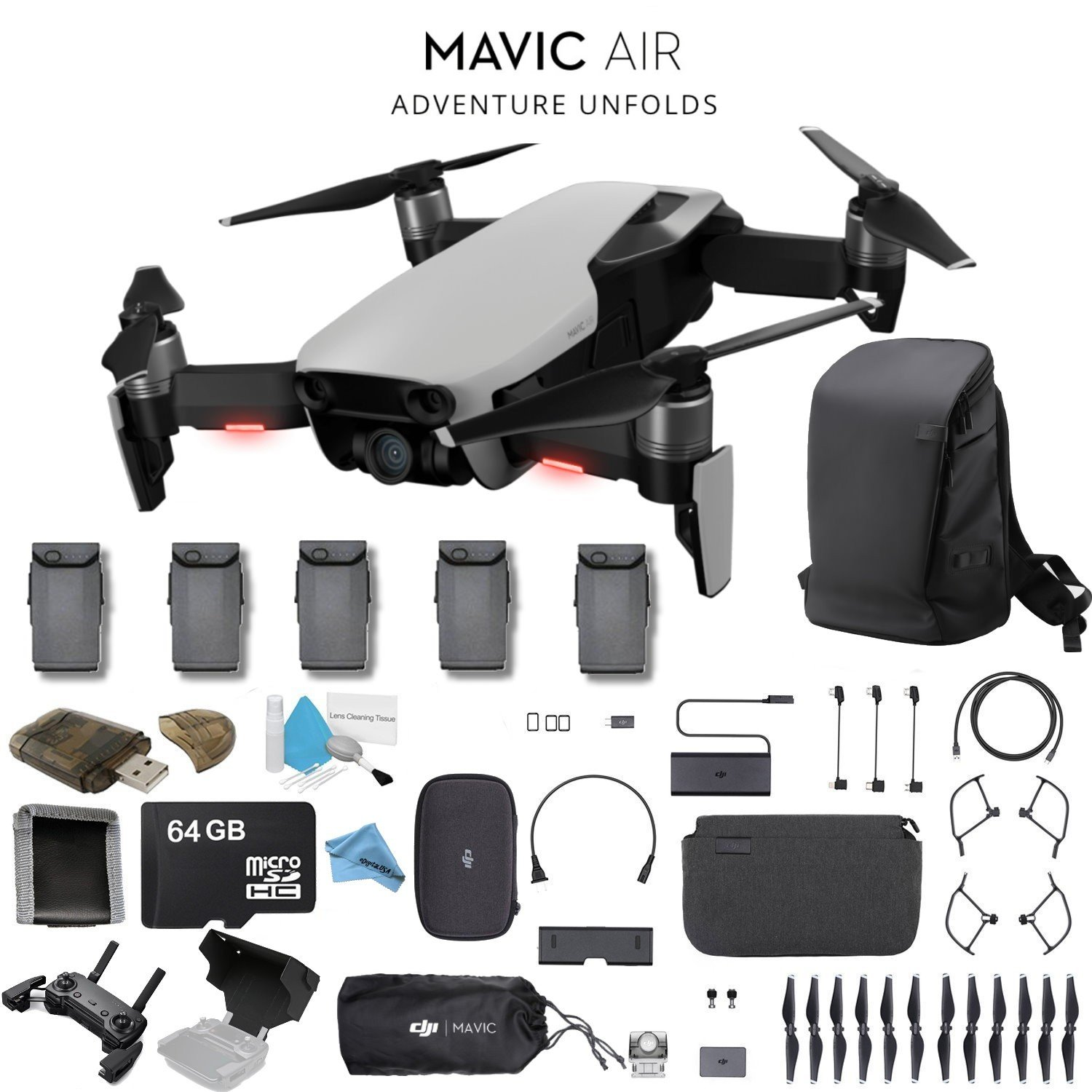 a3f511933ac DJI Mavic Air Fly More Combo (Arctic White) CP.PT.00000165.01 + 2 DJI  Intelligent Flight Battery for Mavic Air (5 Total) + Carrying Case and Much  More.