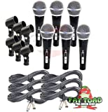 Cardioid Vocal Microphones with XLR Mic Cables & Clips (6 Pack) by Fat Toad|Dynamic Handheld, Unidirectional for Studio Recording, Live Stage Singing, DJ, Karaoke|Pro Audio 20ft Mic Cords, 3-Pin Wire