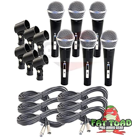 Amazon.com: Cardioid Vocal Microphones with XLR Mic Cables & Clips ...