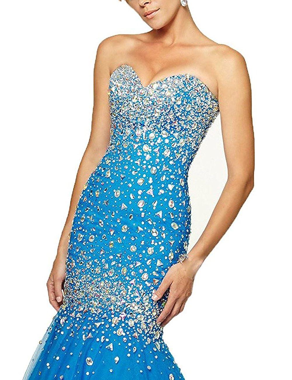 bluee 2 Beautydress Luxury Beaded Lace Up Sweetheart Mermaid Prom Dresses for Women BP116