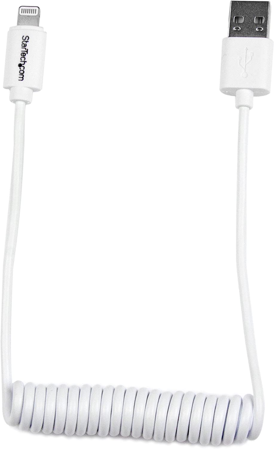StarTech.com Lightning to USB Cable - Coiled Lightning Cable - 0.6m (2ft) - White - Apple MFi Certified (USBCLT60CMW)