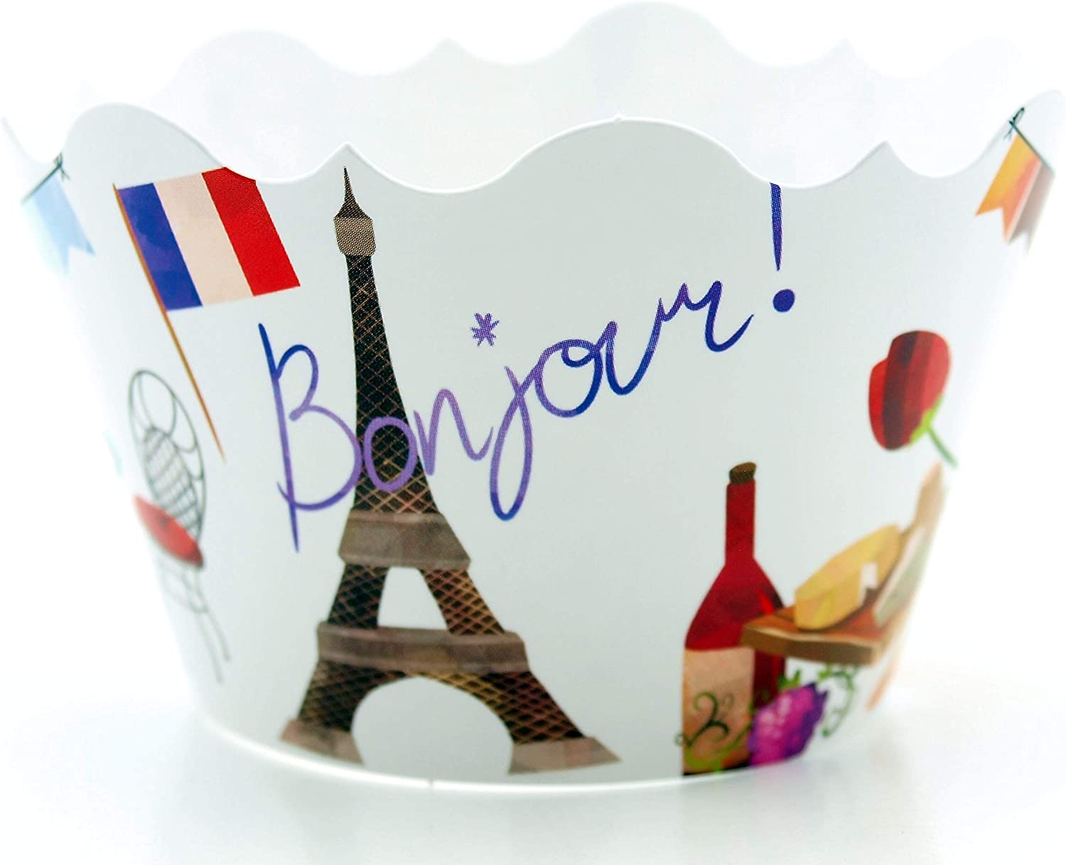 Paris France Party Supplies Cupcake Wrappers (12 Pack) - French Birthday Decorations, Parisian Tea Party Garden Table Decor & Oui! Oui! Eiffel Tower Party Favors