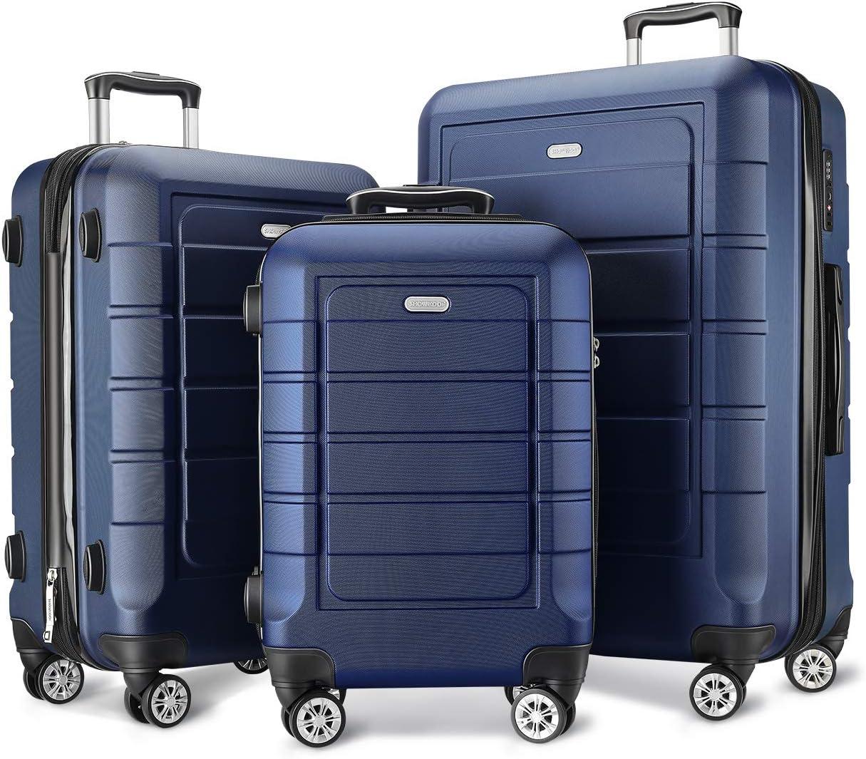 SHOWKOO Luggage Sets Expandable PC ABS Durable Suitcase Double Wheels TSA Lock 3pcs Blue