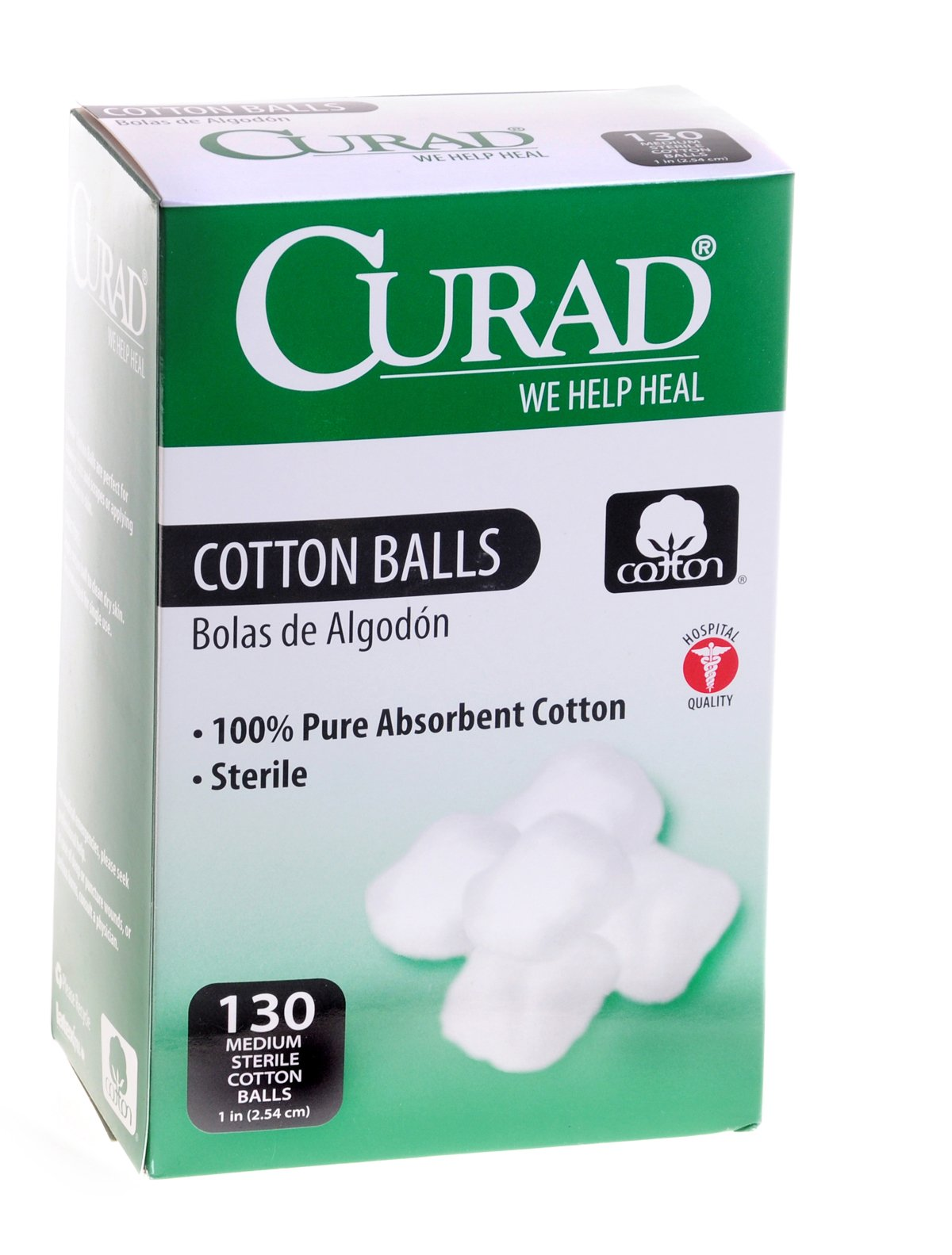 Curad Sterile Cotton Balls, 1-Inch, 130 Count (Pack of 4)