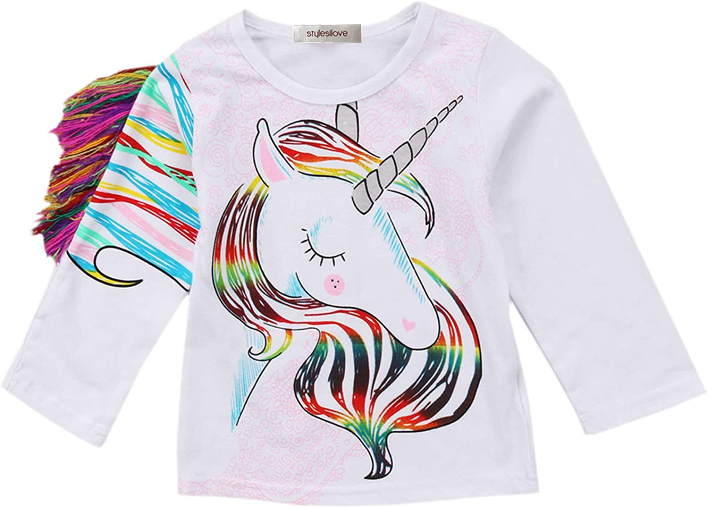 Funny Unicorn Toddler Girls T Shirt Kids Cotton Short Sleeve Ruffle Tee