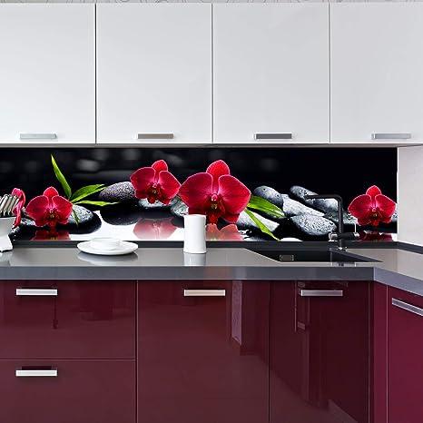 Wandmotiv24 Küchenrückwand Orchidee Rot Steine Schwarz Tropfen Spie 260 X 60cm B X H Acrylglas 4mm Nischenrückwand Spritzschutz Fliesenspiegel Ersatz Deko Küche M1125 Küche Haushalt