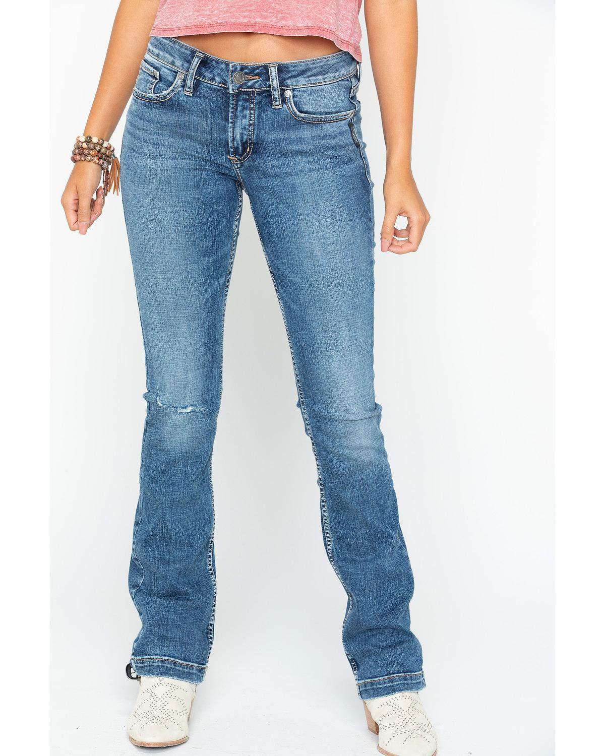 Silver Jeans Co. Women's Elyse Relaxed Fit Mid Rise Slim Bootcut Jeans, Vintage Distressed, 33x33