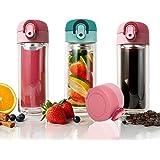 Tenta Kitchen 300 ml in vetro a doppia parete, infusore per tè tazza bicchiere, frutta infusione bottiglia di vetro & Coffee Brewer con integrato e seal-well Leaf filtro (1,rosa)